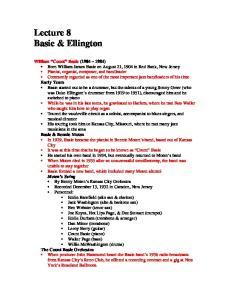 Lecture 8 Basie & Ellington