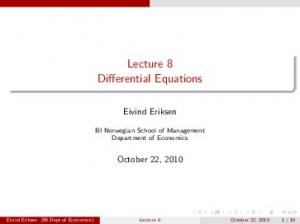 Lecture 8 Differential Equations