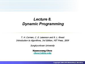 Lecture 8. Dynamic Programming