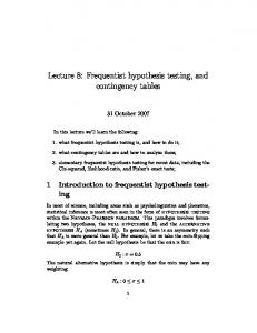 Lecture 8: Frequentist hypothesis testing, and contingency tables
