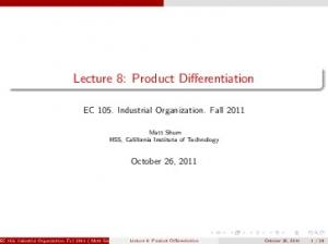 Lecture 8: Product Differentiation