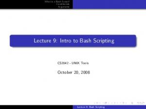 Lecture 9: Intro to Bash Scripting