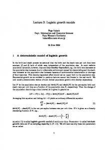 Lecture 9: Logistic growth models