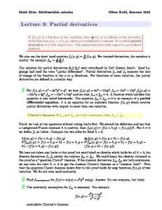 Lecture 9: Partial derivatives