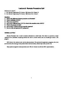 Lecture 9: Remote Procedure Call
