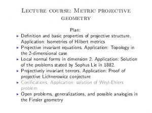 Lecture course: Metric projective geometry