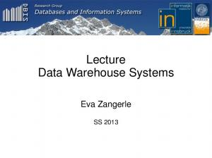 Lecture Data Warehouse Systems