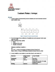 Lecture Notes : Arrays
