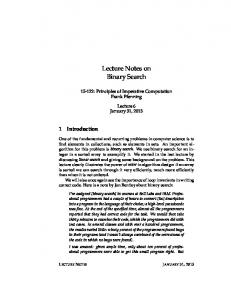 Lecture Notes on Binary Search