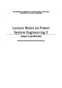 Lecture Notes on Power System Engineering II