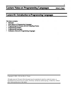 Lecture Notes on Programming Languages