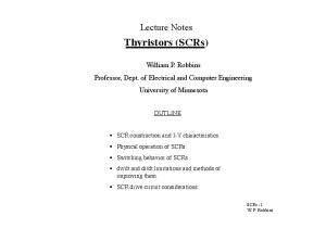 Lecture Notes. Thyristors (SCRs) OUTLINE