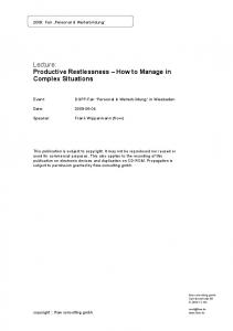 Lecture: Productive Restlessness How to Manage in Complex Situations