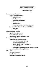 LECTURE SECTION 3. Sediment Transport
