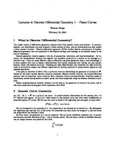 Lectures in Discrete Differential Geometry 1 Plane Curves