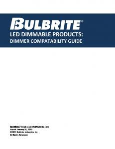 LED DIMMABLE PRODUCTS: DIMMER COMPATABILITY GUIDE