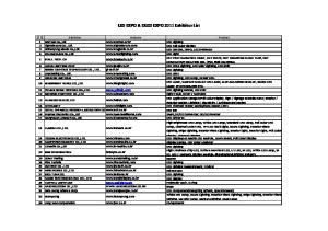 LED EXPO & OLED EXPO 2011 Exhibitor List
