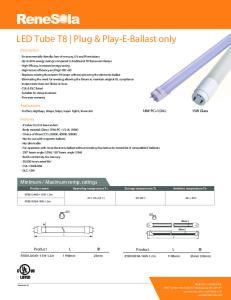 LED Tube T8 Plug & Play-E-Ballast only