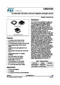 LED2472GQTR. 24-channels LED driver with error detection and gain control. Description. Features. Applications