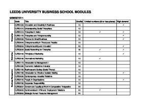 LEEDS UNIVERSITY BUSINESS SCHOOL MODULES