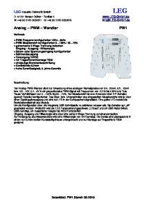 LEG. Analog PWM Wandler. LEG Industrie-Elektronik GmbH