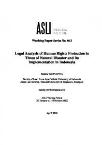 Legal Analysis of Human Rights Protection in Times of Natural Disaster and Its Implementation in Indonesia