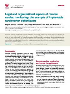 Legal and organizational aspects of remote cardiac monitoring: the example of implantable cardioverter defibrillators