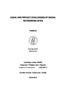 LEGAL AND PRIVACY CHALLENGES OF SOCIAL NETWORKING SITES