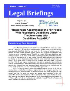 Legal Briefings. Reasonable Accommodations For People With Psychiatric Disabilities Under The Americans With Disabilities Act (ADA)