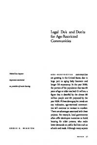 Legal Do s and Don ts for Age-Restricted Communities