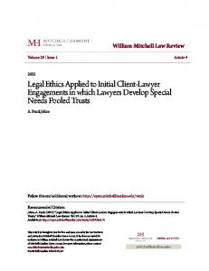 Legal Ethics Applied to Initial Client-Lawyer Engagements in which Lawyers Develop Special Needs Pooled Trusts