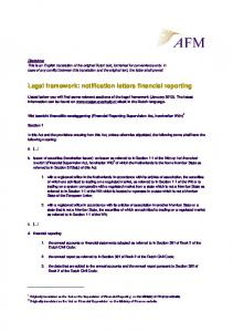 Legal framework: notification letters financial reporting