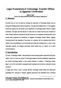 Legal Framework of Technology Transfer Offices in Egyptian Universities