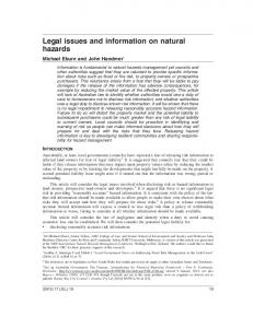 Legal issues and information on natural hazards