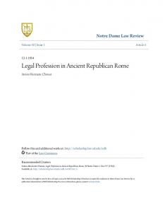 Legal Profession in Ancient Republican Rome