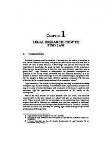 LEGAL RESEARCH: HOW TO FIND LAW