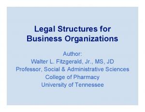 Legal Structures for Business Organizations