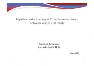 Legal translator training at Croatian universities between wishes and reality