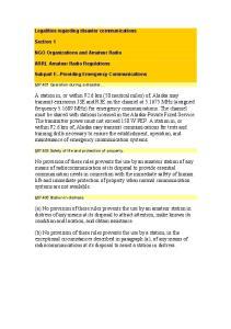 Legalities regarding disaster communications. Section 1. NGO Organizations and Amateur Radio. ARRL Amateur Radio Regulations