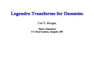 Legendre Transforms for Dummies