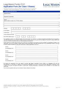 Legg Mason Funds ICVC Application Form (for Class I Shares)