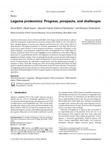 Legume proteomics: Progress, prospects, and challenges