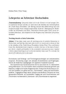 Lehrpreise an Schweizer Hochschulen