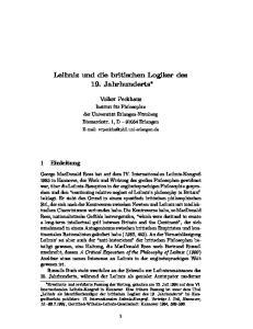 Leibniz und die britischen Logiker des 19. Jahrhunderts