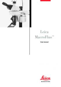 Leica MacroFluo. User manual