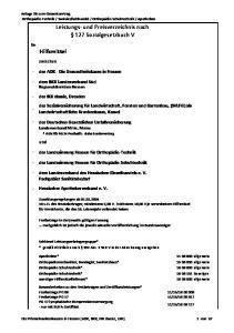 Leistungs- und Preisverzeichnis nach 127 Sozialgesetzbuch V