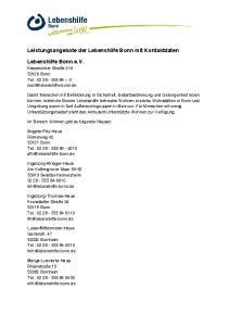 Leistungsangebote der Lebenshilfe Bonn mit Kontaktdaten