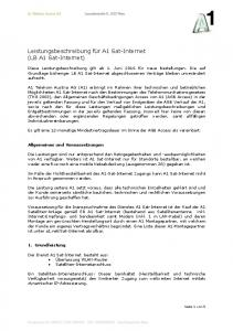 Leistungsbeschreibung für A1 Sat-Internet (LB A1 Sat-Internet)