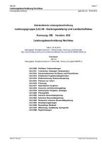 Leistungsgruppe (LG) 58 - Gartengestaltung und Landschaftsbau. Kennung: HB Version: 020. Leistungsbeschreibung Hochbau
