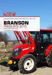 leistungsstarke kompakttraktoren von 21 bis 74 PS Branson Preisliste Serie F Serie 25 serie K serie